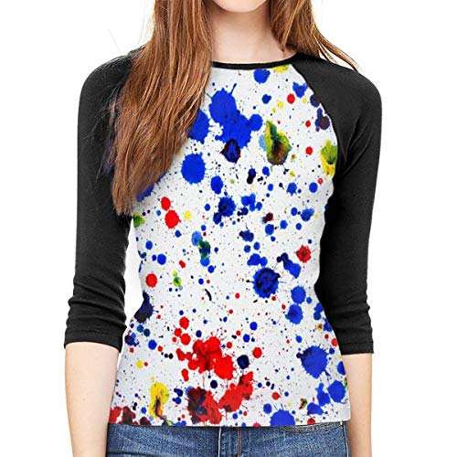 Henrnt Damen Bluse 3/4 Arm T-Shirt Bluse Top Primary Splatter Painting Print T-Shirt Casual Crew Neck Tops Tee