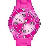 Taffstyle Farbige Sportuhr Armbanduhr Silikon Sport Watch Damen Herren Kinder Analog Quarz Uhr 39mm Pink