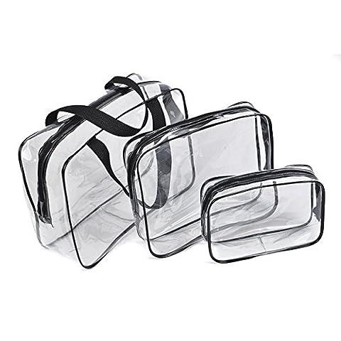 Txian 3x Pochette transparente fabriquée à partir de matériaux en PVC imperméable avec fermeture à glissière Idéal pour voyager Cosmétique Sac Sports de plein air randonnée Sacs de lavage