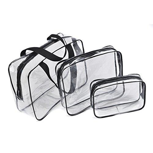Txian 3x neceseres transparentes, bolsa de mano, bolsa hecha de materiales de PVC, impermeable, con cremallera, neceser de viaje ideal para deportes, actividades al aire libre, senderismo, bolsas de ropa
