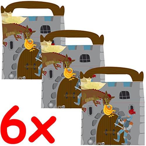6 Geschenk-Boxen * RITTER * mit Tragegriff für Kindergeburtstag oder Motto-Party // Kinder Geburtstag Geschenktüten Mitgebsel Mitgebseltüten Tüten Geburtstagstüten Motto Geschenk Box Knight (Ritter Kinder)