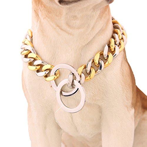 ig Hip Hop Gold mit Silber Ton Edelstahl 316L Dog Choke Kette Halsband Pets Personalisierte Cut Panzerkette Cuban Link Kette 30.5-86.4 cm (Gold-ton-ketten)
