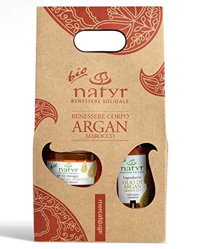 BIO Körperpflege-Set mit Arganöl ✔ Massageöl und Duschgel ✔ Geschenkset ✔ Italienische Naturkosmetik ✔ Natyr - Fair & Natural ✔
