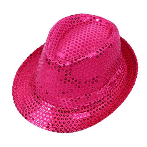 Haptian Jazz-Hut, Erwachsene Kinder Glitter Pailletten Jazz Hut einfarbig gefesselt breiter Krempe Leistung Tanzbühne Zaubershow Bar Party Cap Kostüm Hot Pink Child (Le Jazz Hot Kostüm)