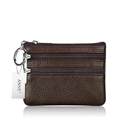 ANNE Portafoglio squisito della borsa della moneta in pelle per le donne Coffee