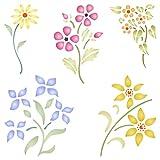 Floral Set Schablone–wiederverwendbar Blumen Flora Pflanzen Wand Schablone–Vorlage, auf Papier Projekte Scrapbook Bullet Tagebuch Wände Böden Stoff Möbel Glas Holz usw. L