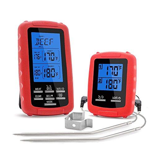 SunTime Digitales Funk Bratenthermometer, IPX7 Wasserdichte 2 Temperaturfühlern mit Temperatur Voreingestellt Timer Sofortige Auslesen Funktionen Faltbar Küchenthermometer für BBQ Ofen Grillen (Rot)