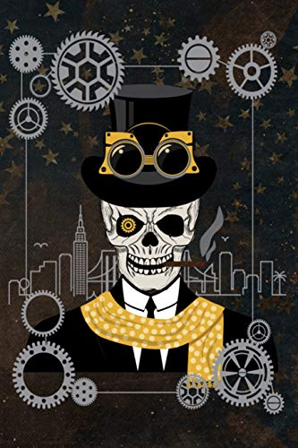 Steampunk Leroy Out On The Town - Multipurpose Notebook: Gears Frame over City Outline Lined Pages For Diary Journal Composition