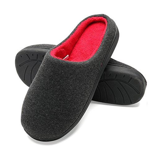 Zapatillas de casa de Hombre, Ultraligero cómodo y Antideslizante, Zapatilla de Estar por casa para Hombre, Negro, Interior: Rojo, EU 44-45 (Lunghezza 28-28.5CM)