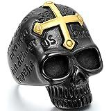 JewelryWe Schmuck Biker Herren-Ring, Edelstahl, Kreuz Gotik Totenkopf Schädel, Gold Schwarz - Größe 76