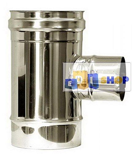 CHEMINEE PAROI SIMPLE TUYAU TUBE INOXIDABLE AISI 316 - dn 140 raccordo a tee ridotto altri diametri