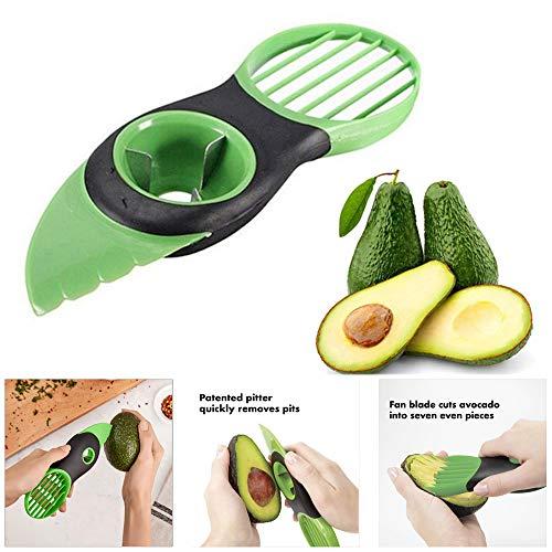 NUONA Good Grips Avocadoschneider, Umweltschutz TPR + PP Avocado Schneider | 3 in 1 Grün Obst Schneider | Küchenschneider | Obstschäler für Fresh Avocado Saver in Haushalt & Küche