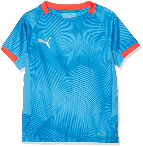 Puma Kinder ftblNXT Graphic Shirt Jr T, Bleu Azur-Red Blast, 164 - Mädchen Graphic T-shirt