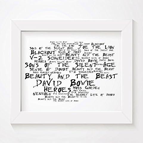 `Noir Paranoiac` Kunstdruck Poster - DAVID BOWIE - Heroes -