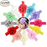 SHELE Baby Girls Chiffon Flower Headbands Infant Toddlers Lace Hair Band Accessories (C(12PCS/Set))