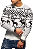 Rello & Reese Herren Strickpullover Norweger Pullover Sweatshirt RS-1048 [Weiß, L]