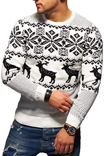 Rello   Reese Herren Strickpullover Norweger Pullover Sweatshirt RS-1048   Weiß, L  8b0ab808d8