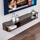 QYJ-Floating shelf Mensole TV Set-Top Box Scaffale Soggiorno Parete Parete Pensile Camera da Letto Moderna Mobile TV Minimalista (Color : Dark Wood)