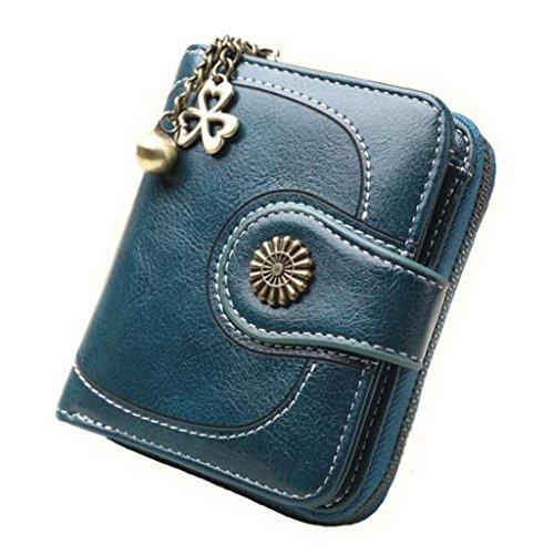 Clutch Pu Leder Handtasche Brieftasche öl Retro Brieftasche öl Wachs Haut münztüte Karte Paket (größe: 11 * 3,5 * 9 cm) (Farbe : Blau) -