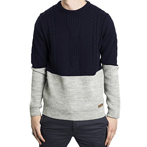 Hommes Tricot Threadbare Neuf Câble Couture Pull-over Contraste Couleur Pull Bleu marine-Gris