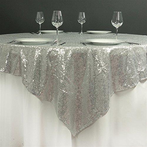 m quadratisch Pailletten-Tisch Overlay Designer Hochzeit Party Linens silber (Rabatt Baby-dusche Dekorationen)