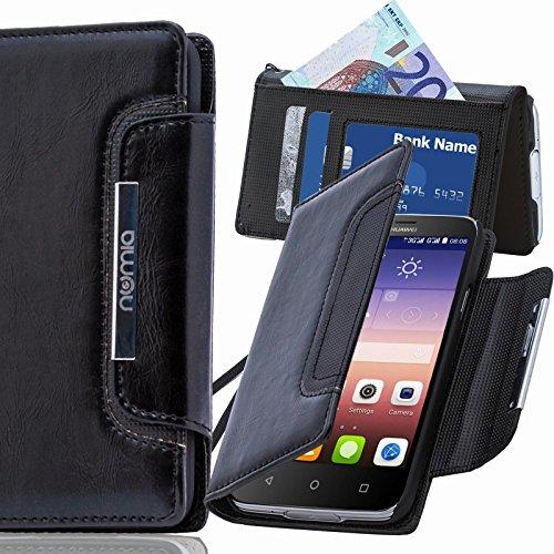 numia Huawei Ascend G6 Hülle, Handyhülle Handy Schutzhülle [Book-Style Handytasche mit Standfunktion und Kartenfach] Pu Leder Tasche für Huawei Ascend G6 Case Cover [Schwarz]