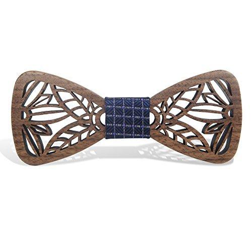 KOOWI La Corbata de Madera Hecha a Mano del Lazo de Madera de Los Hombres Creativos Handcrafted para la Boda o el Desgaste Diario (D)