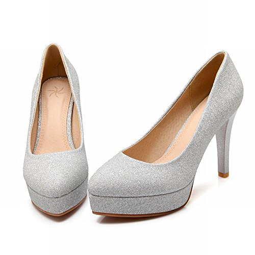 Mee Shoes Damen high heels Plateau Pailleten runde Pumps Silber