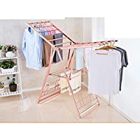 Aluminum alloy drying rack,Folding stand floor bedroom simple land multi-functional wing clothes hanger-E