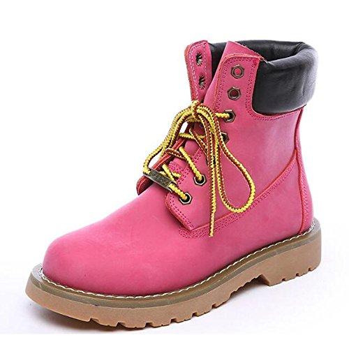 HSXZ Scarpe donna Nabuck Pelle di vacchetta caduta Comfort combattere Stivali Stivali scarpe tacco basso punta tonda Mid-Calf stivali merletto di cucitura per Pink