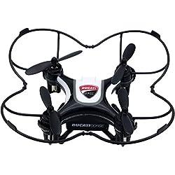 Ducati Corse–Mini Drone de Tres velocidades Flip & Rolls - con protección para hélices integrada y radiocomando Negro