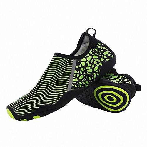 Unisex Erwachsene Strandschuhe Aquaschuhe Schwimmschuhe Badeschuhe Wasserschuhe Surfschuhe für Damen Herren,36-46 Grün