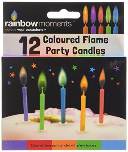 Boxer Gifts Kerzen für Geburtstagstorte mit farbiger Flamme, 12Stück