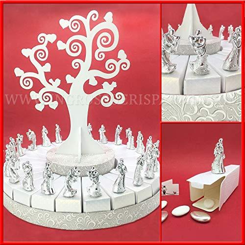 Ingrosso e risparmio struttura torta in cartoncino bianco con albero della vita e miniature sposini argentati, bomboniere originali matrimonio, 25° anniversario (24 fette - senza confetti)