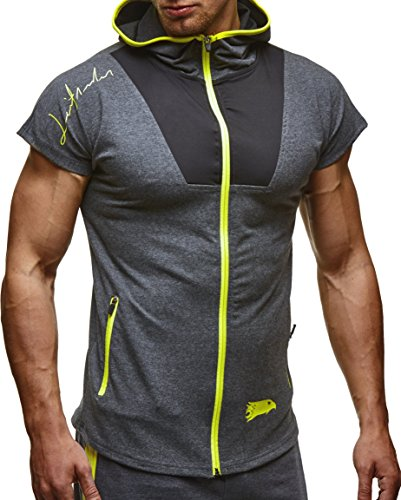 LEIF NELSON Herren Sommer T-Shirt mit Kapuze Slim Fit Basic Baumwolle-Anteil | Moderner Männer T-Shirt Vintage Hoodie-Sweatshirt-Pulli Kurzarm lang | 6334 Anthrazit-Gelb Small -