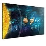 LANA KK - Leinwandbild Sonnensystem Weltall & Sterne auf Echtholz-Keilrahmen - Fotoleinwand-Kunstdruck in schwarz, einteilig & fertig gerahmt in 60x40cm (120 x 80 cm)