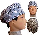Cappello chirurgico. GATTINI GRIGI. per i capelli corti. Donna. e uomo, chirurgo, dentista, veterinario, cuoco, ecc. Asciugamano sulla fronte, tenditore regolabile sul retro. Handmade Prime