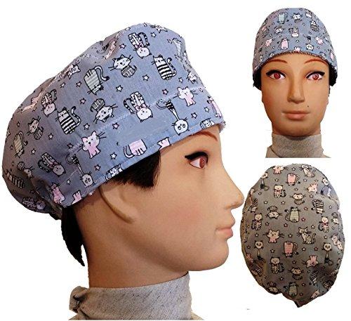 Chirurgische Kappe. graue Kätzchen. für kurze Haare. Frau und Mann, Chirurg, Zahnarzt, Tierarzt, Koch, etc. Handtuch auf der Stirn, verstellbarer Spanner auf der Rückseite. Handmade