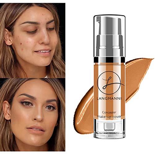 Correcteur de teint liquide Liquid Foundation Langmanni Brighten Skin Cream Maquillage imperméable à l'eau - Le premier choix de modification de la peau et de contrôle de l'huile (6#)