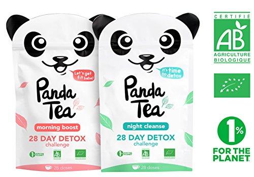 Panda Tea - thé et infusion detox cure minceur bio - 56 sachets coton - challenge 28 jours - certifié biologiqu