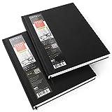 ARTEZA Zeichenbuch | 22 cm x 28 cm | 2 Stück mit 110 Blättern pro Notizbuch | Total 440 Seiten | Skizzenbuch mit Festem Einband | Zeichenpapier in Hardcover | Ideal zum Zeichnen, Skizzieren & Malen