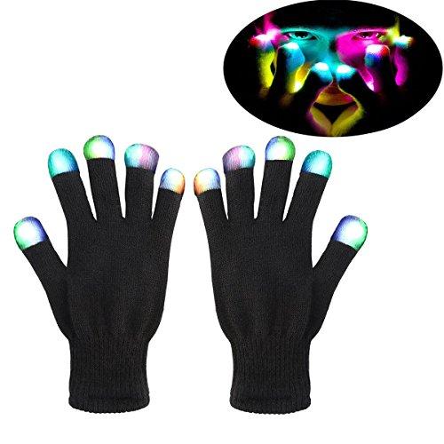 Spielzeug ab 2 - 8 Jahre, DMbaby geburtstagsgeschenk für kinder LED Blinklicht Bunte Rave Handschuhe DM05