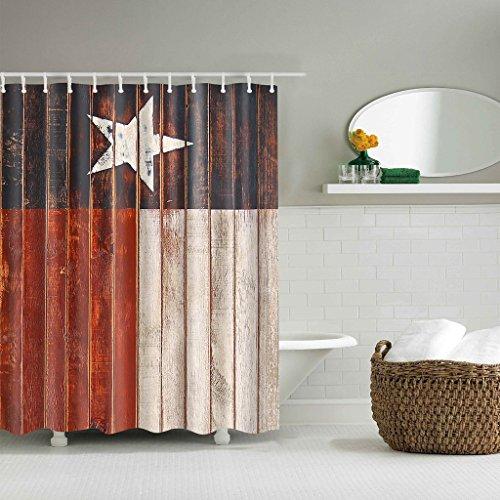 GUBENM Duschvorhang, Stoff Duschvorhang Western Texas Star wasserdichte Badezimmerdekor 180x180cm (Star-dusche Vorhang-set)