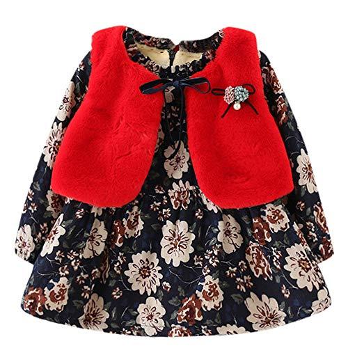 Togelei Neugeborenen Mädchen Floral und Samtkleid Mode Pelz Weste zweiteilige wilde Prinzessin Kleid Baby Mädchen Floral Faux Pelz Weste Prinzessin Kleid Set Warme Outfits -