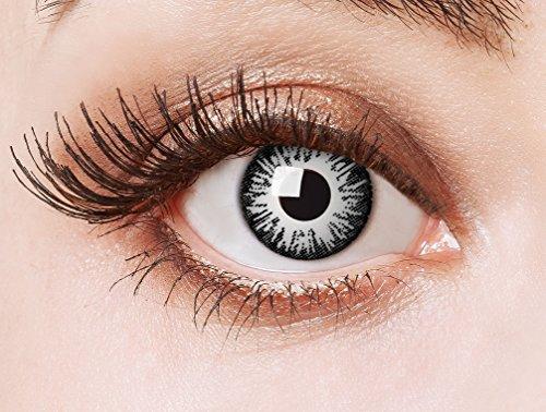 aricona Kontaktlinsen Farblinsen | weiße Kontaktlinsen ohne Stärke für dein Halloween Make-up |farbige Vampir Jahreslinsen | farbig bunte Linsen für Cosplay & LARP (Weiße Natürliche Halloween-make-up)