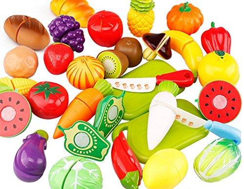 Haodu Kinder Obst Geschnitten Spielzeug Küche Kunststoff Spielen Lebensmittel Gemüse Schneiden gefälschte Rollenspiel-Tool-Set Schneiden Spielzeug Set 20 Stück