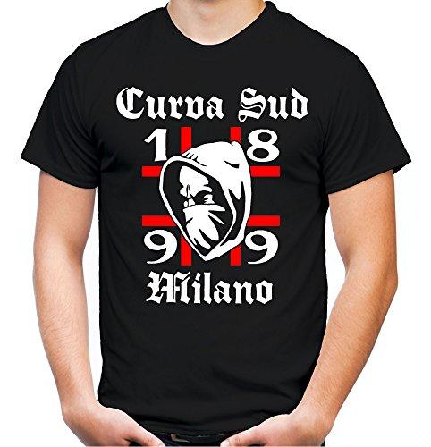 Curva Sud Milano Männer und Herren T-Shirt | Fussball Kleidung Geschenk | M1 (XL, Schwarz)