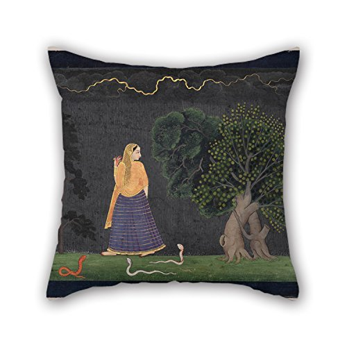 beautifulseason Oil Painting The Family of Nainsukh - Heroine Rushing to Her Lover (Abhisarika Nayika) Pillowcover 20 X 20 Inches/50 by 50 cm for Wedding,Wife,Kitchen,Pub,Monther,Home Theater WI -