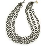 3-Strand Brown Metallic Glass Bead Oval Link Necklace - 70cm L