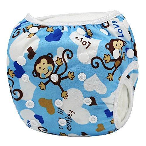 Sijueam Schwimmwindel Waschbar Mehrwegwindeln Baby Diapers Wasserdicht Windelhosen Unisex Einheitsgröße Einstellbar Badeshorts Leakproof Wassersport Bademode - Blue Monkey (Lycra-folie)